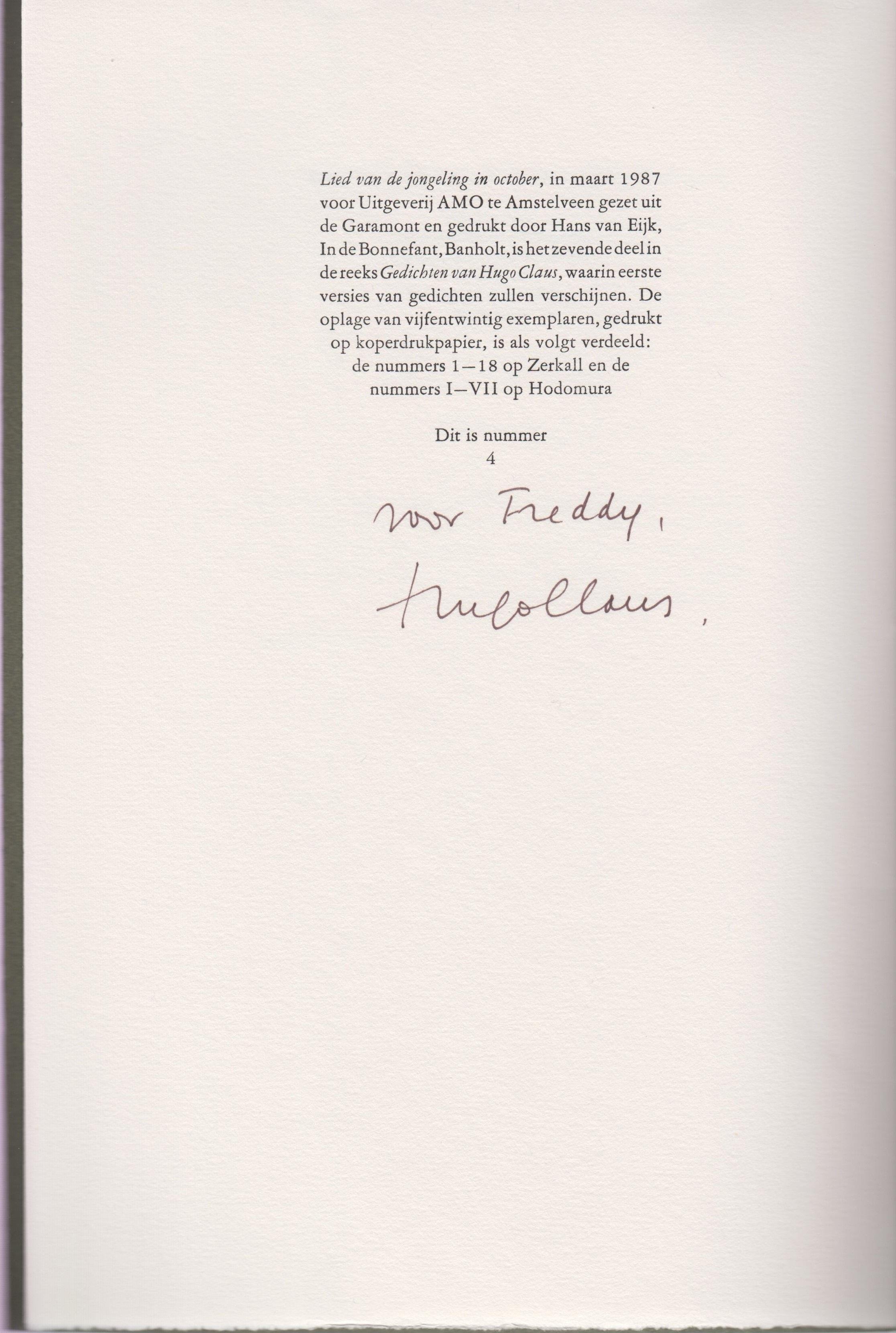 Nieuwsbrief 685 Gedichten Van Hugo Claus Antiquariaat Fokas Holthuis