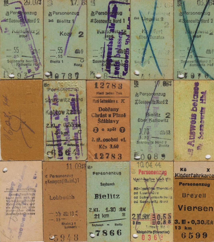 17 FAHRKARTEN Sammlung Von Deutschen Und Deutsch Polnischen Fahrkarten System Edmondson Etwa 1944 Alle Gebraucht In Guter Zustand